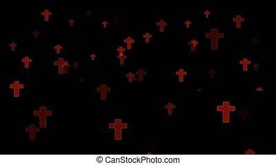 noir, né, était, fané, flotter, rouges, écran, tombeaux