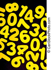 noir, nombres, jaune