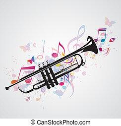 noir, notes, trompette