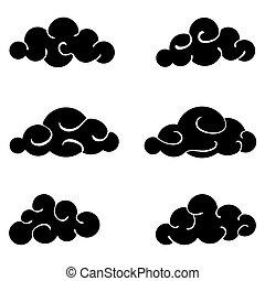 noir, nuages, isolé, ensemble, blanc