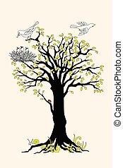 noir, oiseaux, arbre, nid, silhouette, feuilles jaune