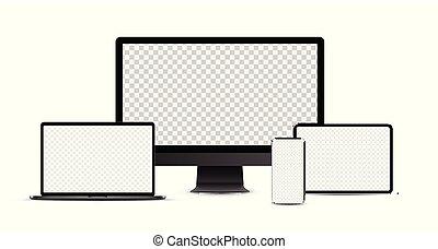 noir, ordinateur portable, tablette, devices:, électronique, ensemble, réaliste, bureau, computer., smartphone