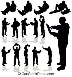noir, ordinateur portable, vecteur, silhouette, homme