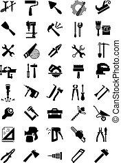 noir, outillage, manuel, électrique, icônes