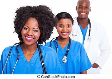 noir, ouvriers, groupe, healthcare
