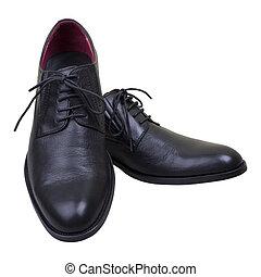 noir, paire, chaussures, homme