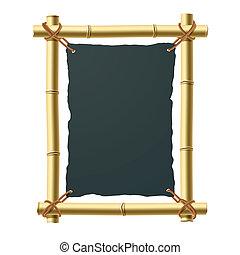 noir, papier, cadre, bambou, vide