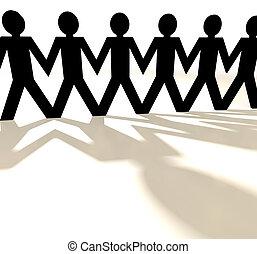 noir, papier, groupe, chaîne, gens