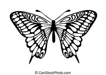 noir, papillon, isolé, blanc