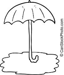 noir, parapluie blanc, dessin animé, mouillé