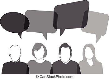 noir, parler, gens