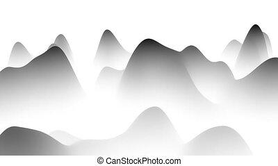 noir, paysage, it., fond, boucle, résumé, onduler, 3d, blanc, gradient, cg, rendering., animation., brumeux, sentir
