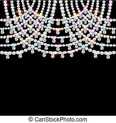 noir, pendentifs, jeweled, fond