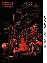 noir, petri, église, hambourg, sankt, hauptkirche, rouges, vue