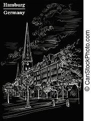 noir, petri, église, hambourg, sankt, hauptkirche, vue