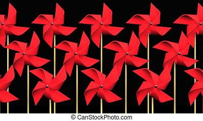 noir, pinwheels, arrière-plan rouge
