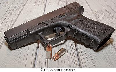 noir, pistolet, balles, deux