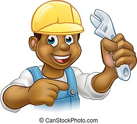 noir, plombier, bricoleur, ou, mécanicien