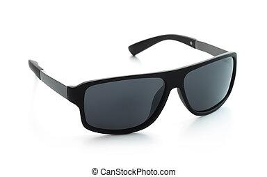 noir, polarisé, lunettes soleil, classique