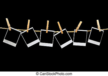 noir, polaroids, fond, pendre