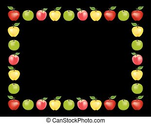 noir, pomme, fond, cadre