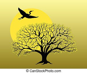 noir, pommier, voler, héron, silhouette, su