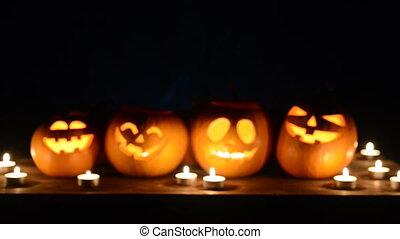 noir, potirons, halloween, fond