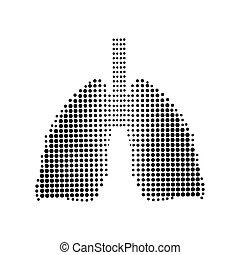 noir, poumons, icône, arrière-plan., blanc