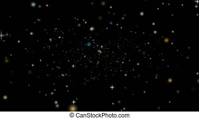 noir, poussière, tomber, écran, fané, neige, profond, étoile, glace, or, lentement
