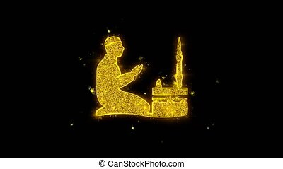 noir, prière, arrière-plan., islamique, ramadan, religion, icône, particules, étincelles, prier