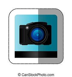 noir, professionnel, appareil photo, studio, icône