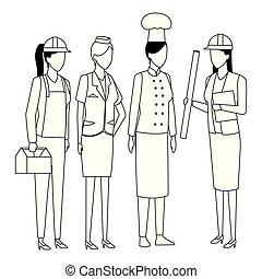 noir, professions, blanc, travaux, avatar
