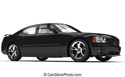 noir, puissant, côté, voiture, vue