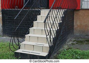 noir, rampes, fer, gris, vert, dehors, étapes, escalier, forgé, herbe