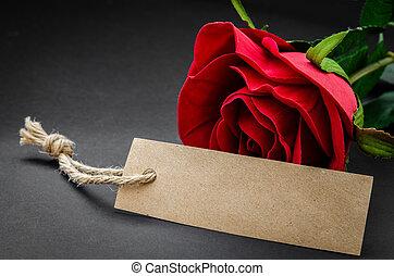 noir, recycler, papier brun, étiquette, à, rouges, rose.