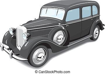 noir, retro, voiture