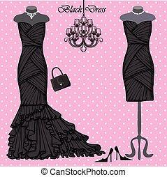 noir, robes, ensemble