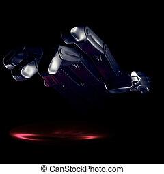 noir, robot, fond, main