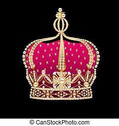 noir, royal, couronne, or, fond