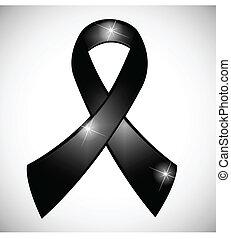 noir, ruban, conscience, symbole