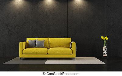 noir, salle, jaune