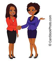 noir, secousse, femmes affaires, mains