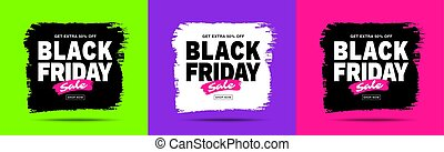 noir, set., couleurs, grunge, gabarit, ventes, vendredi, texture., vecteur, illustration, discounts., design., bannières, coup, blots, vente, brosse, cadre, branché, arrière-plan., aquarelle