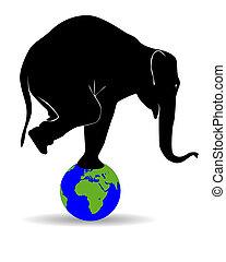 noir, silhouette, éléphant