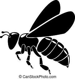noir, silhouette, abeille