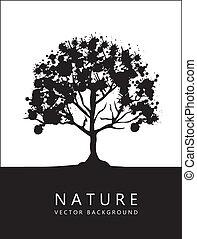 noir, silhouette, arbre