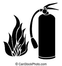 noir, silhouette, brûler, flamme, et, extincteur, icône