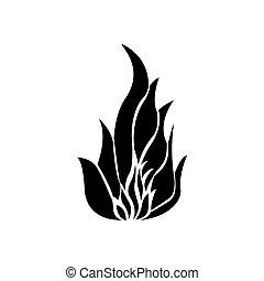 noir, silhouette, brûler, flamme, icône