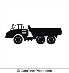 noir, silhouette, camion, décharge