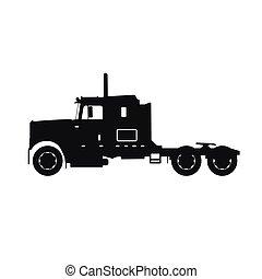 noir, silhouette, camion, tracteur